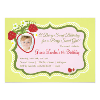 Strawberry    Photo Birthday Invitation