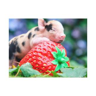 strawberry pig canvas print