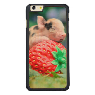 strawberry pig carved maple iPhone 6 plus case