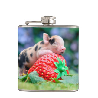 strawberry pig hip flask
