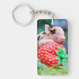 strawberry pig keychain