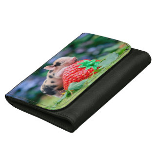 strawberry pig leather wallet for women