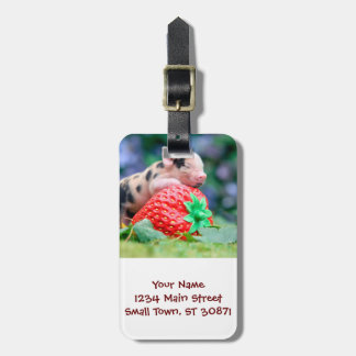 strawberry pig luggage tag