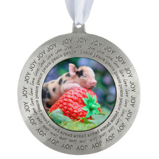 strawberry pig pewter ornament