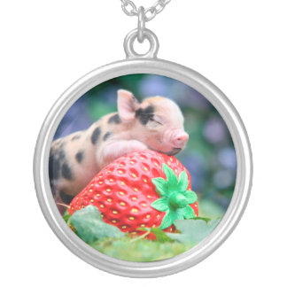 strawberry pig silver plated necklace