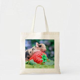 strawberry pig tote bag