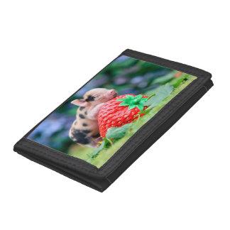 strawberry pig tri-fold wallet