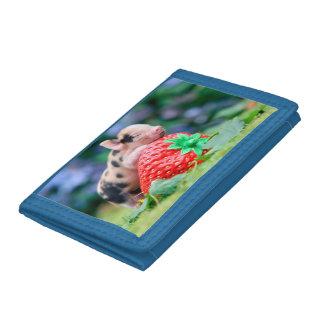 strawberry pig tri-fold wallets