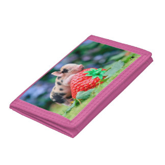 strawberry pig trifold wallet