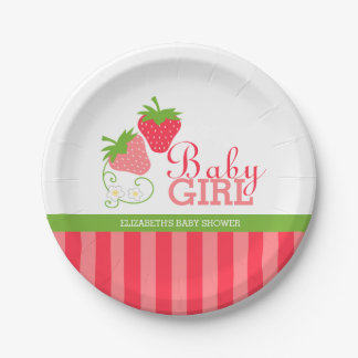 Strawberry Pink and Green Baby Shower 7 Inch Paper Plate
