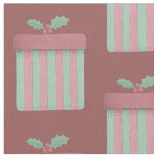 Strawberry Pink and Mint Christmas Gift Fabric