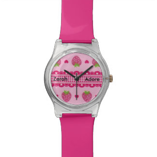 Strawberry Pink Gingham Hearts Message Name Watch