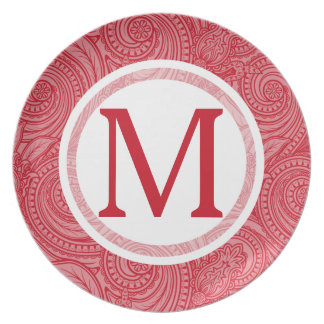 Strawberry Pink Initial Pattern Melamine Plate