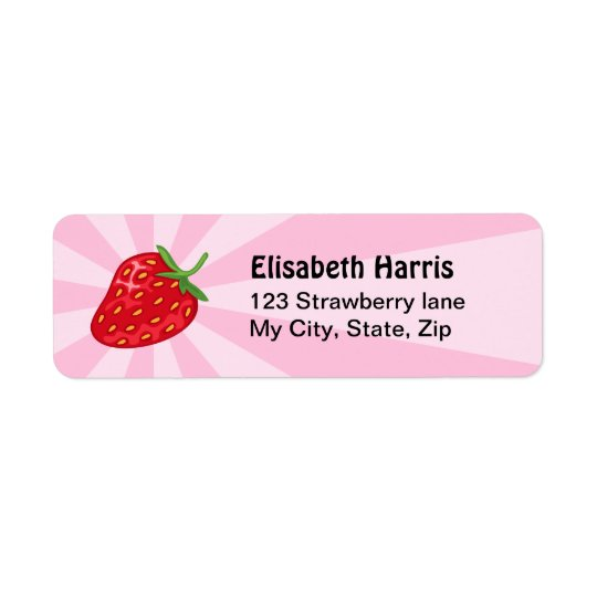 Strawberry pink sunburst return address labels