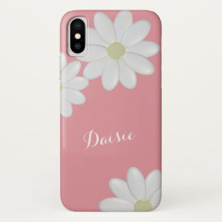 Strawberry Pink White Daisy Flowers iPhone X Case