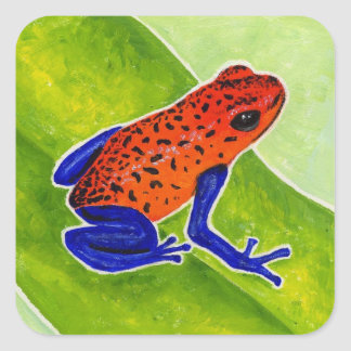 Strawberry Poison Dart Frog Square Sticker
