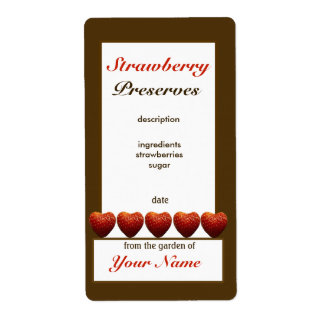 Strawberry Preserves Canning Jar Label 2 Shipping Label