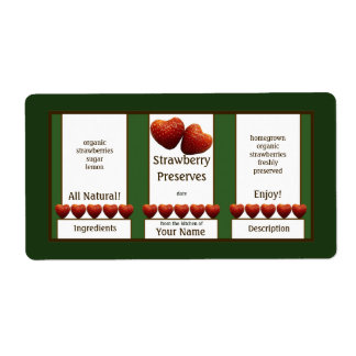 Strawberry Preserves Canning Jar Label Shipping Label
