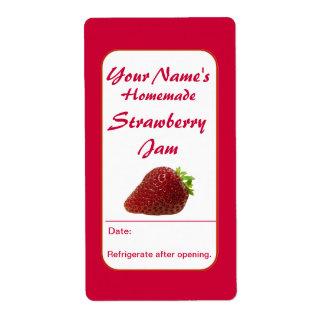 Strawberry Preserves Custom Jam Jar Labels