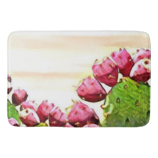 strawberry prickly pear bathroom mat
