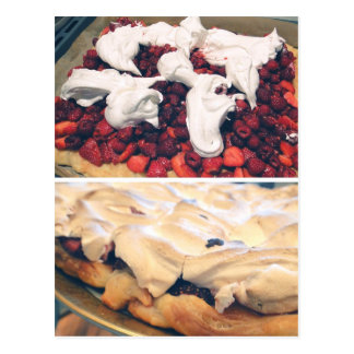 Strawberry/raspberry cake postcard