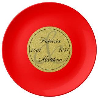 Strawberry Red Gold 50th Wedding Anniversary Gift Porcelain Plate