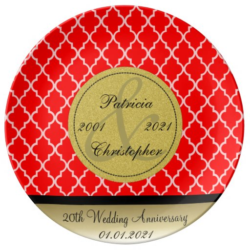 Strawberry Red Moroccan 20th Wedding Anniversary Porcelain Plate