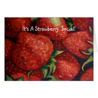 STRAWBERRY SOCIAL INVITE, Realism Art Card