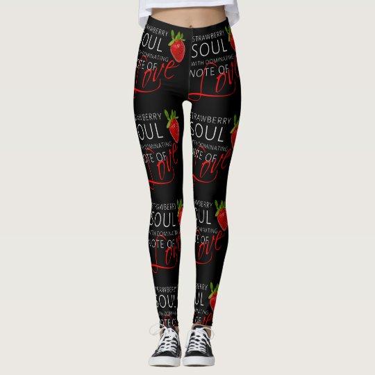 Strawberry Soul Black Leggings