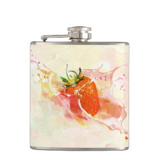 Strawberry Splash! Watercolor Hip Flask