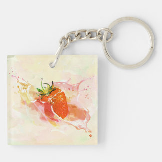 Strawberry Splash! Watercolor Keychain