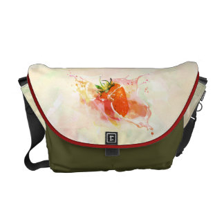 Strawberry Splash! Watercolor Messenger Bag