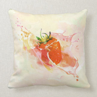 Strawberry Splash! Watercolor Throw Pillow