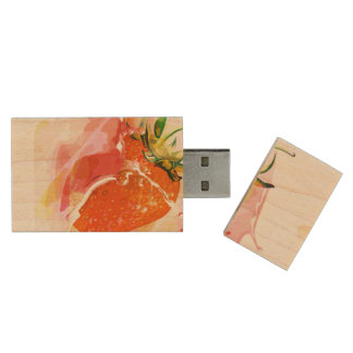 Strawberry Splash! Watercolor Wood USB Flash Drive