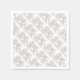 Strawberry Spray Line Art Design Paper Napkins