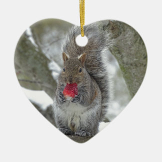 Strawberry squirrel ceramic ornament
