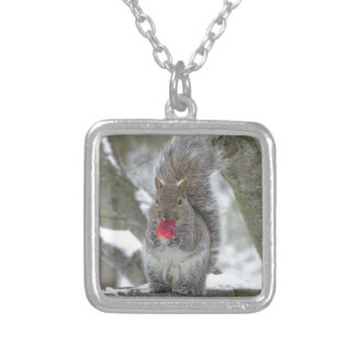 Strawberry squirrel silver plated necklace