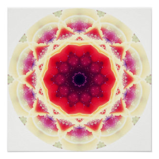 Strawberry Sunday Mandala Poster