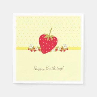 Strawberry Sweet baby First Birthday Party Paper Napkin