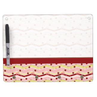 Strawberry Swirl Chevron Pattern With Border Dry-Erase Whiteboard