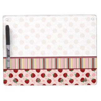 Strawberry Swirl Pattern With Border Dry Erase Board