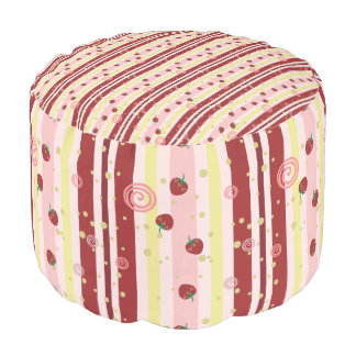 Strawberry Swirl Stripes Pattern Pouf