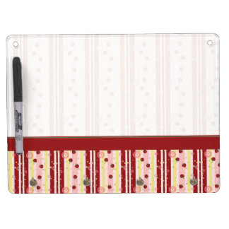 Strawberry Swirl Stripes Pattern With Border Dry-Erase Whiteboard
