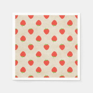 Strawberry Vintage Girly Rustic Strawberries Print Paper Napkins