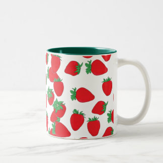 Strawberry Wallpaper Two-Tone Coffee Mug