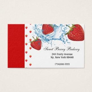 Strawberry Water Splash Business Card