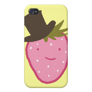 Strawberry Wearing A Top Hat iPhone 4 Cover