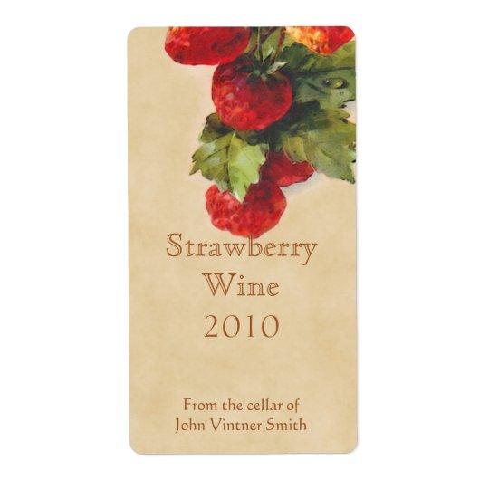 Strawberry wine bottle label shipping label
