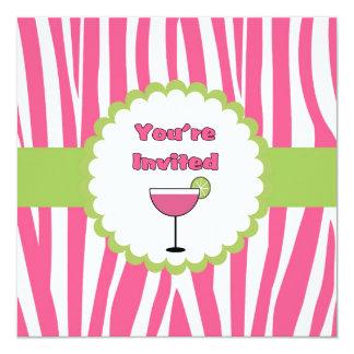 Strawberry Zebra Birthday Party Invitation