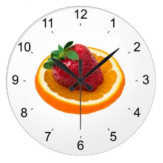 Strawbery and orange large clock